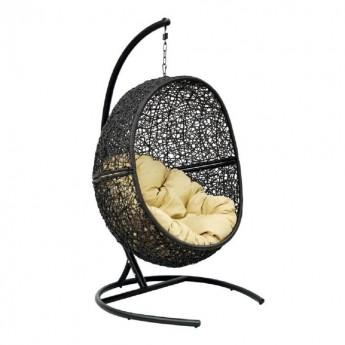 Подвесное кресло LUNAR BLACK МИ (175) Каркас черный, подушка светло-бежевая