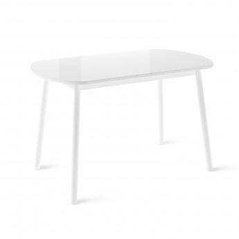 Стол раздвижной Leset Мидел МИ металл Белый, стекло Белое
