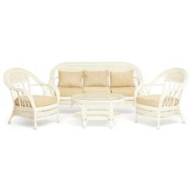 КОМПЛЕКТ для отдыха MICHELLE (стол + диван + 2 кресла), белый