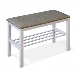 Банкетка Leset Фиора Беленая/ткань серая/металл алюминий