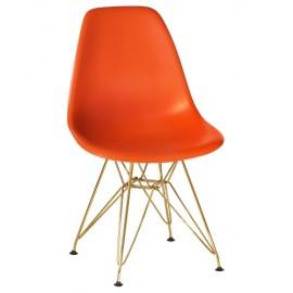 Стул Eames LMZL-PP638A оранжевый, золотые ножки