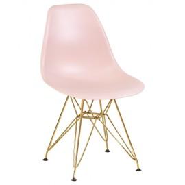 Стул Eames LMZL-PP638A светло-розовый, золотые ножки