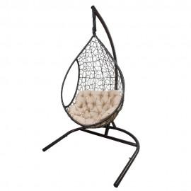 Кресло подвесное ЛИРА, цвет темно-коричневый, подушка – бежевый