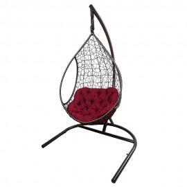 Кресло подвесное ЛИРА, цвет темно-коричневый, подушка – бордовый