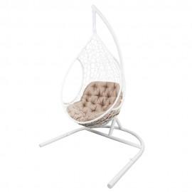 Кресло подвесное ЛИРА, цвет белый, подушка – бежевый