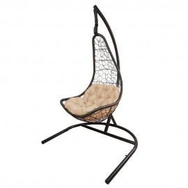 Кресло подвесное БРИЗ, цвет темно-коричневый, подушка – бежевый