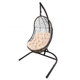Кресло подвесное ВЕГА, цвет темно-коричневый, подушка – бежевый