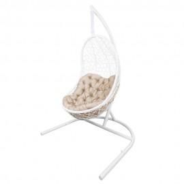 Кресло подвесное ВЕГА, цвет белый, подушка – бежевый