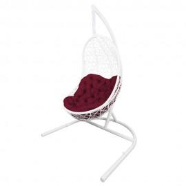 Кресло подвесное ВЕГА, цвет белый, подушка – бордовый