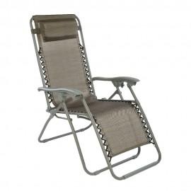 Раскладной стул-шезлонг (серый, текстилен)