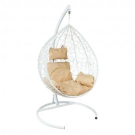 Подвесное кресло Z-10 (4), цвет белый, подушка – бежевый, каркас – белый