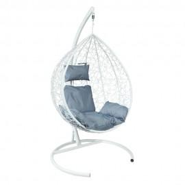 Подвесное кресло Z-10 (6), цвет белый, подушка – серый, каркас – белый