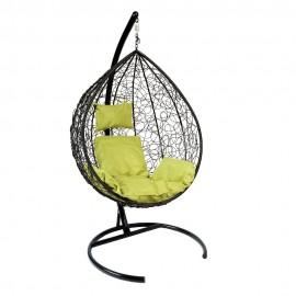 Подвесное кресло Z-03 (A) (8), цвет черный, подушка – зеленый, каркас – черный