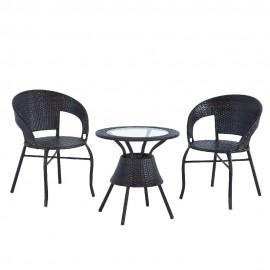 Комплект обеденный BISTRO WICKER (стол + 2 кресла), цвет черный