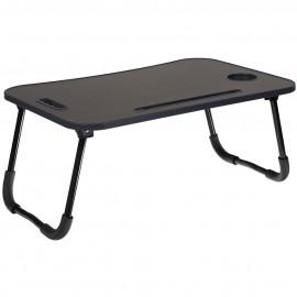 Стол складной с подстаканником «ЛАЙТ», темн. дерево, черный