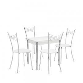 Набор мебели для кухни Leset Лиль 1Р + Рейн, хром / белый