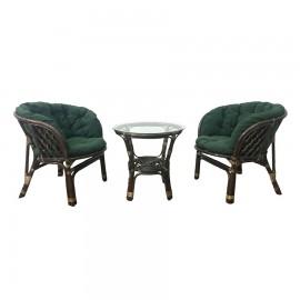 Комплект кофейный БАГАМА S (стол+2 кресла, подушка твил), темно-зеленый